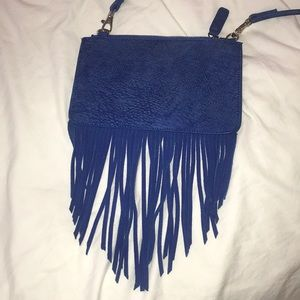 Blue suede fringe free people crossbody bag